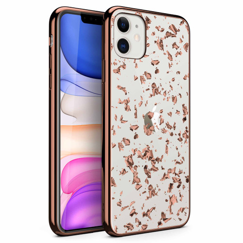 ZIZO REFINE Series iPhone 11 Case - Ultra Slim Thin Case Clear Transparent Back w/ Rose Gold Foil Flakes - Rose Gold Exposure RFE-IPH61-RGEX