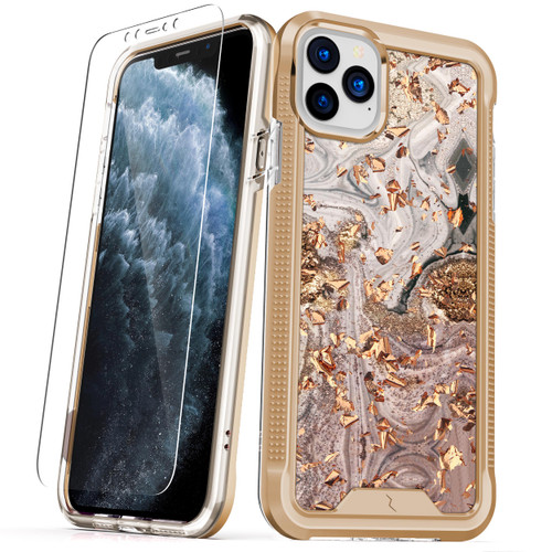 ZIZO ION Series iPhone 11 Pro Case - Military Grade Drop Tested with Tempered Glass Screen Protector - Gold Swirl Marble IONC-IPH58-GDSW
