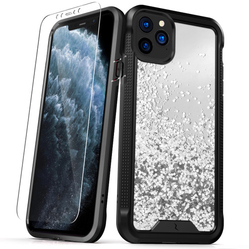 ZIZO ION Series iPhone 11 Pro Case - Military Grade Drop Tested with Tempered Glass Screen Protector - Silver Liquid Glitter IONC-IPH58-SLWF