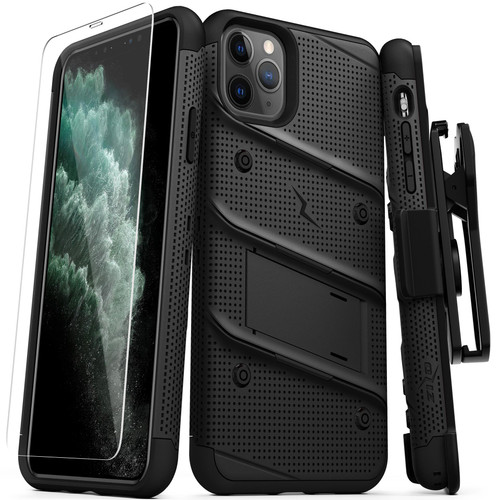 ZIZO BOLT Series iPhone 11 Pro Max Case - Heavy-duty Military-grade Drop ProtectION w/ Kickstand Included Belt Clip Holster Tempered Glass Lanyard - Black BOLT-IPH65-BKBK