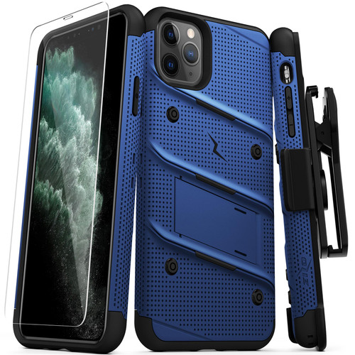 ZIZO BOLT Series iPhone 11 Pro Max Case - Heavy-duty Military-grade Drop ProtectION w/ Kickstand Included Belt Clip Holster Tempered Glass Lanyard - Blue BOLT-IPH65-BLBK