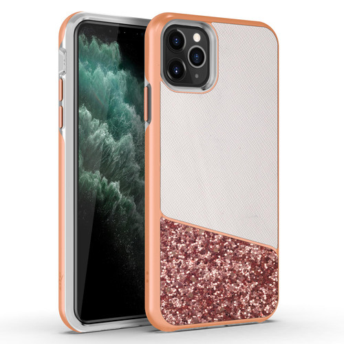 ZIZO DIVISION Series iPhone 11 Pro Max Case - Military-grade ProtectION White Leather / Rose Gold Crystal Glitter - Designed for 2019 Apple iPhone 11 Pro Max - WANDERLUST DVS-IPH65-WDL