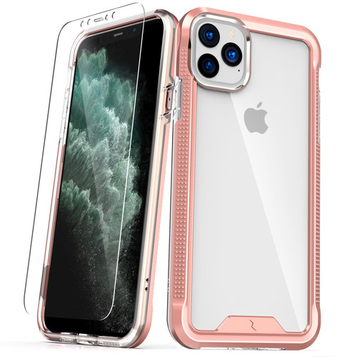 ZIZO ION Series iPhone 11 Pro Max Case - Military Grade Drop Tested with Tempered Glass Screen Protector - Rose Gold / Clear IONC-IPH65-RGDCL