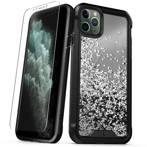 ZIZO ION Series iPhone 11 Pro Max Case - Military Grade Drop Tested with Tempered Glass Screen Protector - Silver Liquid Glitter IONC-IPH65-SLWF
