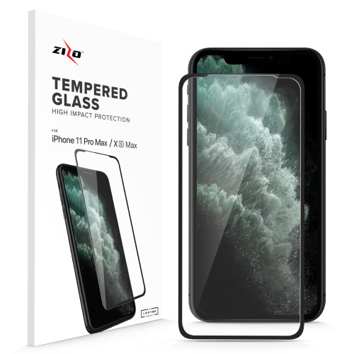 ZIZO Full Glue Glass Compatible with iPhone XS Max / iPhone 11 Pro Max Tempered Glass Screen Protector 0.33mm 9H Hardness 1GLSHD-IPHXSMAX-BLK