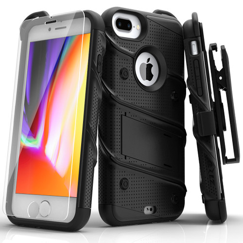 ZIZO BOLT Series iPhone 8 Plus Case Military Grade Drop Tested Tempered Glass Screen Protector Holster iPhone 7 Plus Case BLACK 1BOLT-IPH7PLUS-BKBK