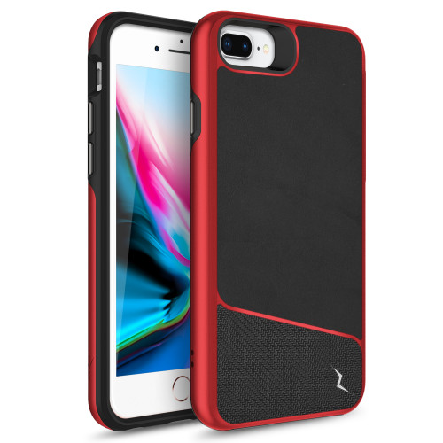 ZIZO DIVISION Series iPhone 8 Plus  iPhone 7 Plus, iPhone 6s Plus Case - Sleek Heavy-duty ProtectION in Modern Design Dual Layer Shock AbsorbtION 12 ft Drop ProtectION Magentic Plate - Black & Red DVS-IPH7PLUS-BKRD