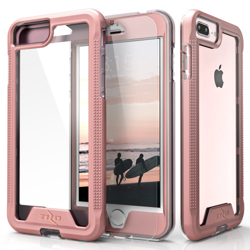 ZIZO ION Series Compatible with iPhone 8 Plus Case Military Grade Drop Tested with Tempered Glass Screen Protector iPhone 7 Plus 6s Plus RoseGold Clear 1IONC-IPH7PLUSN-RGDCL