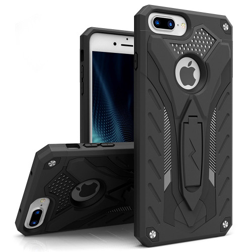ZIZO STATIC Series Compatible with iPhone 8 Plus Case Military Grade Drop Tested with Kickstand iPhone 7 Plus iPhone 6s Plus Case Black Black 1STT-IPH7PLUS-BKBK