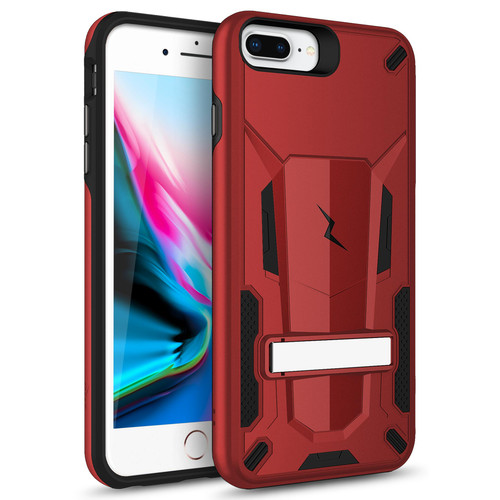ZIZO TRANSFORM iPhone 8 Plus  iPhone 7 Plus, iPhone 6s Plus Case - Dual Layered with Built in Kickstand Slim and Shockproof - Red & Black TFM-IPH7PLUS-RDBK