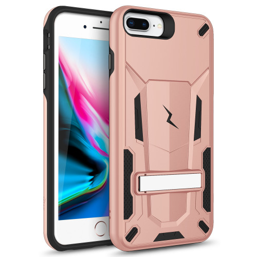 ZIZO TRANSFORM iPhone 8 Plus  iPhone 7 Plus, iPhone 6s Plus Case - Dual Layered with Built in Kickstand Slim and Shockproof - Rose Gold & Black TFM-IPH7PLUS-RGDBK
