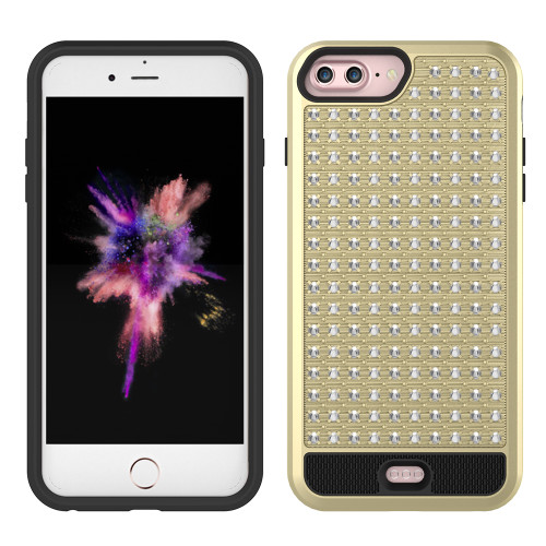 ZV Star Diamond Series Compatible with iPhone 8 Plus Case Rhinestone Stitched with Dual Layered ProtectION iPhone 7 Plus iPhone 6s Plus Case Gold 1DLST-IPH7PLUS-GDBK