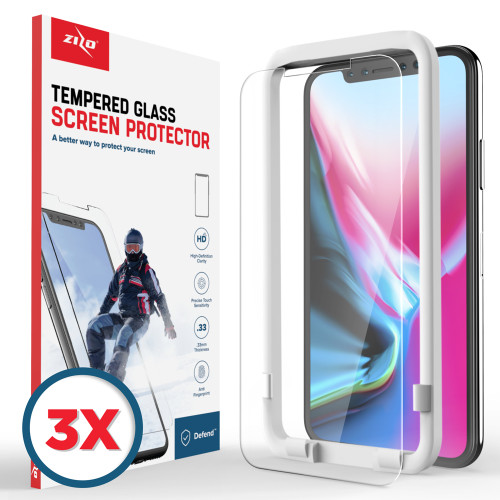 ZIZO 3 pack Glass Compatible with iPhone X Tempered Glass Screen Protector Anti Scratch 9H Hardness iPhone XS Screen Protector Clear 3XLSHD-IPHX-CL