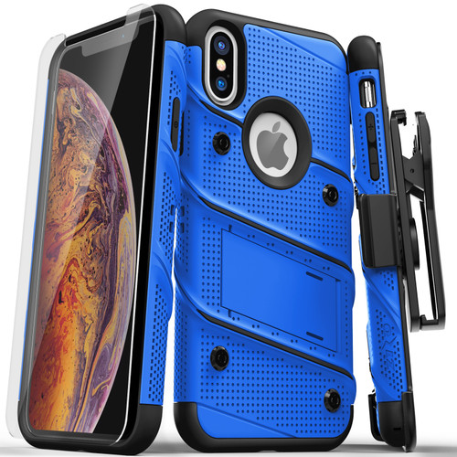 ZIZO BOLT Series iPhone X Case Military Grade Drop Tested with Screen Protector  Kickstand and Holster iPhone XS BLUE BLACK BOLT-IPHX-BLBK