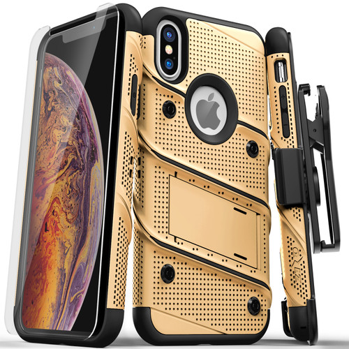 ZIZO BOLT Series iPhone X Case Military Grade Drop Tested with Screen Protector  Kickstand and Holster iPhone XS GOLD BLACK BOLT-IPHX-GDBK