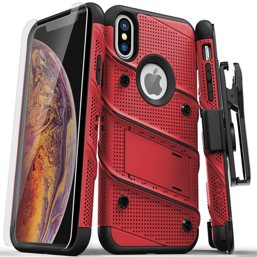 ZIZO BOLT Series iPhone X Case Military Grade Drop Tested with Screen Protector  Kickstand and Holster iPhone XS RED BLACK BOLT-IPHX-RDBK