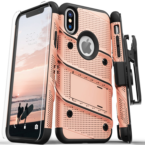 ZIZO BOLT Series iPhone X Case Military Grade Drop Tested with Screen Protector  Kickstand and Holster iPhone XS ROSE GOLD BLACK BOLT-IPHX-RGDBK