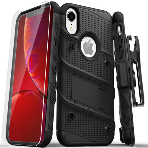 ZIZO BOLT Series iPhone XR Case Military Grade Drop Tested with Tempered Glass Screen Protector Holster and Kickstand BLACK BLACK 1BOLT-IPHXR-BKBK