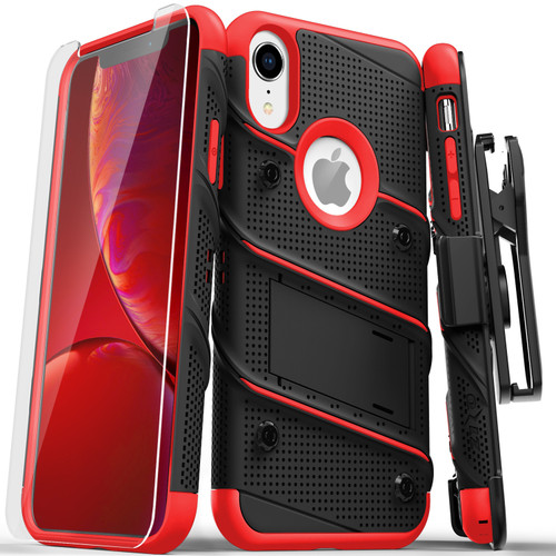 ZIZO BOLT Series iPhone XR Case Military Grade Drop Tested with Tempered Glass Screen Protector Holster and Kickstand BLACK RED 1BOLT-IPHXR-BKRD