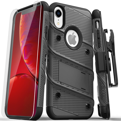 ZIZO BOLT Series iPhone XR Case Military Grade Drop Tested with Tempered Glass Screen Protector Holster and Kickstand METAL GRAY BLACK 1BOLT-IPHXR-MGRBK