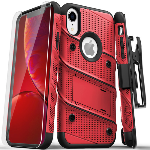 ZIZO BOLT Series iPhone XR Case Military Grade Drop Tested with Tempered Glass Screen Protector Holster and Kickstand RED BLACK 1BOLT-IPHXR-RDBK