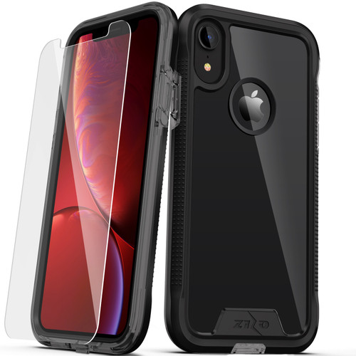 ZIZO ION Series Compatible with iPhone XR Case Military Grade Drop Tested with Tempered Glass Screen Protector BLACK SMOKE 1IONC-IPHXR-BKSM