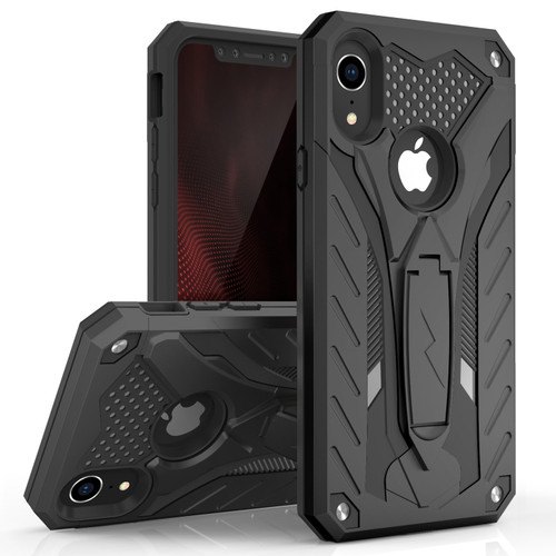 ZIZO STATIC Series Compatible with iPhone XR Case Military Grade Drop Tested with Built In Kickstand (Black/Black) 1STT-IPHXR-BKBK