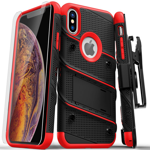 ZIZO BOLT Series iPhone Xs Max Case Military Grade Drop Tested with Tempered Glass Screen Protector  Holster, Kickstand BLACK RED 1BOLT-IPHXSMAX-BKRD