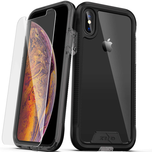 ZIZO ION Series Compatible with iPhone Xs Max Case Military Grade Drop Tested with Tempered Glass Screen Protector (Black & Smoke) 1IONC-IPHXSMAX-BKSM