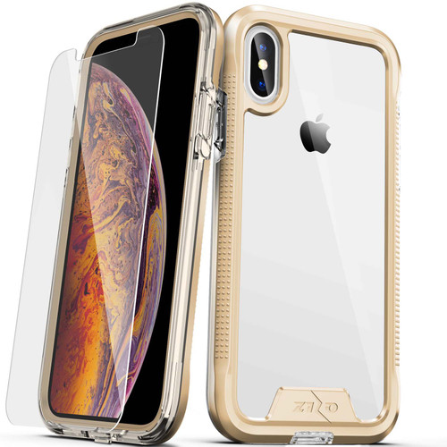 ZIZO ION Series Compatible with iPhone Xs Max Case Military Grade Drop Tested with Tempered Glass Screen Protector (Gold & Clear) 1IONC-IPHXSMAX-GDCL