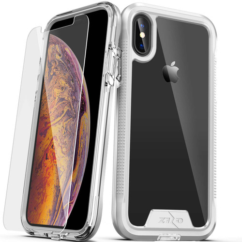 ZIZO ION Series Compatible with iPhone Xs Max Case Military Grade Drop Tested with Tempered Glass Screen Protector (Silver & Clear) 1IONC-IPHXSMAX-SLCL
