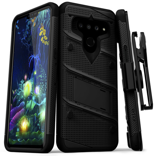 ZIZO BOLT Series LG V50 ThinQ 5G Case | Military-grade Drop ProtectION w/ kickstand bundle includes Belt Clip Holster + Lanyard Black Black BOLT-LGV50-BKBK