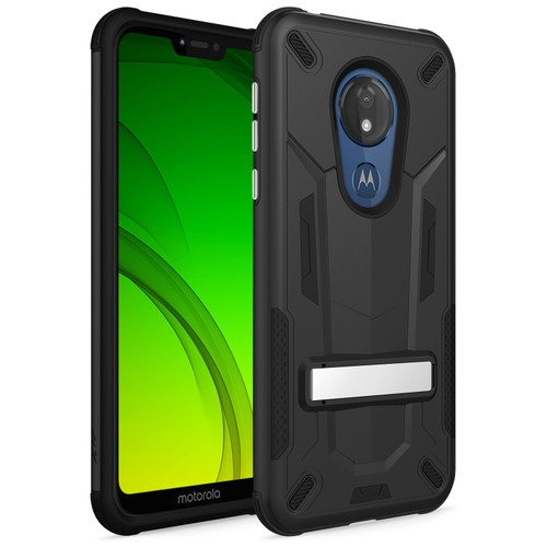 ZIZO TRANSFORM Series Compatible with Moto G7 Supra Case Dual Layered with Built in Kickstand Slim and Shockproof G7 Power Black Black TFM-MOTG7S-BKBK