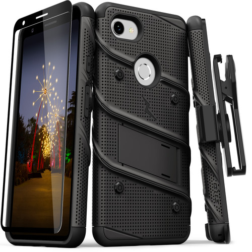 ZIZO BOLT Series Google Pixel 3a Case | Heavy-duty Military-grade Drop ProtectION w/ Kickstand Included Belt Clip Holster Tempered Glass Lanyard (Black/Black) BOLT-GOOGPL3A-BKBK