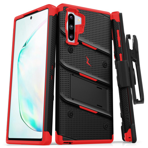 ZIZO BOLT Series Samsung Galaxy Note 10 Case | Heavy-duty Military-grade Drop ProtectION w/ Kickstand Included Belt Clip Holster Lanyard (Black/Red) BOLT-SAMGN10-BKRD