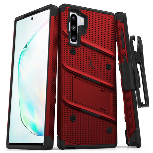 ZIZO BOLT Series Samsung Galaxy Note 10 Case | Heavy-duty Military-grade Drop ProtectION w/ Kickstand Included Belt Clip Holster Lanyard (Red/Black) BOLT-SAMGN10-RDBK