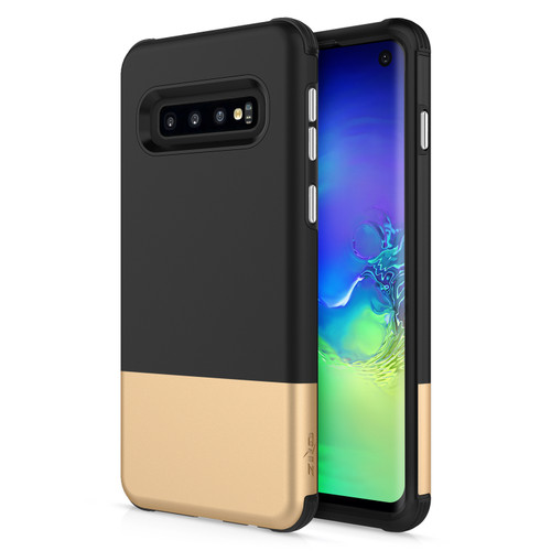 ZIZO DIVISION Series Galaxy S10 Case Lightweight with Anti Scratch Shockproof Black Gold DVS-SAMGS10-BKGD