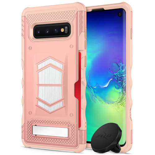 ZIZO ELECTRO Series Compatible with Samsung Galaxy S10 with Card Slot and Air Vent Magnetic Holder Rose Gold Peach ELC-SAMGS10-RGDPH