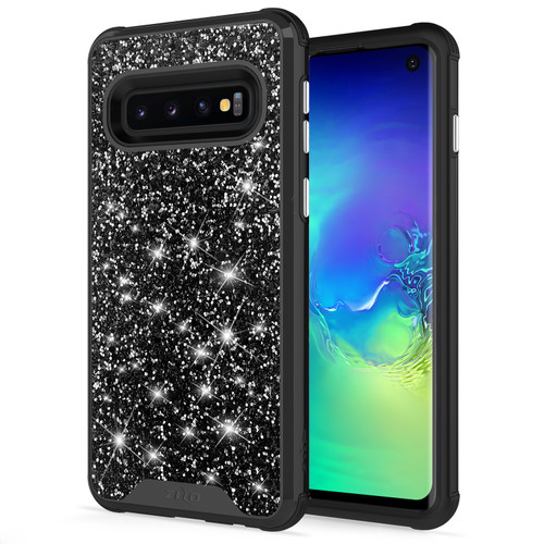 ZIZO STELLAR Series Compatible with Samsung Galaxy S10 Case Dual Layer with Glitter Design Black Black STL-SAMGS10-BKBK