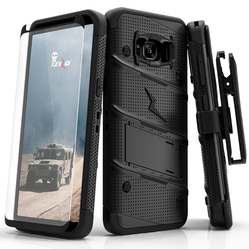 ZIZO BOLT Series Samsung Galaxy S8 Plus Case Military Grade Drop Tested with Tempered Glass Screen Protector Holster BLACK 1BOLT-SAMGS8PLUS-BKBK