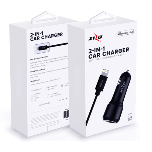ZIZOCharge 2in1 F11 Car Adapter and 6ft MFi Certified Cable Compatible with iPhone XS Max XR X 8 Plus 7 Plus 6s Plus 6 Plus SE 5S 5C iPad iPod Black 2IN1-CCLTNM6-BLK