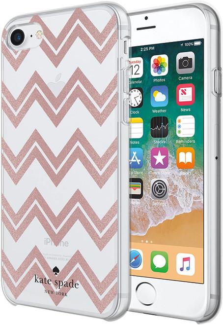 Kate Spade - Hardshell Case for Apple iPhone 8 / 7 / SE - Chevron Rose Gold Glitter / Clear