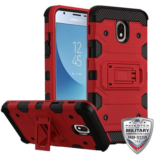 Samsung Galaxy J3 (2018) Red/Black Storm Tank Hybrid Protector Cover [Military-Grade Certified](with Package)