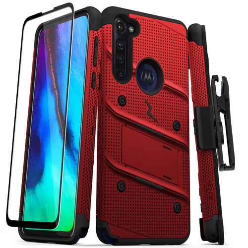 ZIZO BOLT Series for Moto G Stylus Case with Screen Protector Kickstand Holster Lanyard - Red & Black BOLT-MOTGSTL-RDBK