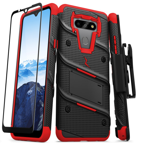 ZIZO BOLT Series for LG Fortune 3 Case with Screen Protector Kickstand Holster Lanyard - Black & Red BOLT-LGFT3-BKRD