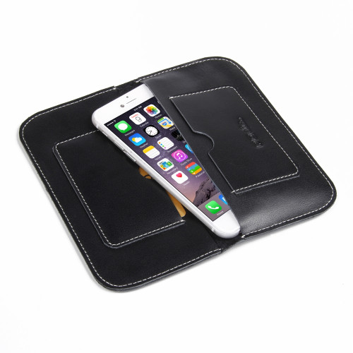 PDair Black Leather Simple Wallet for Apple iPhone 7 / 8