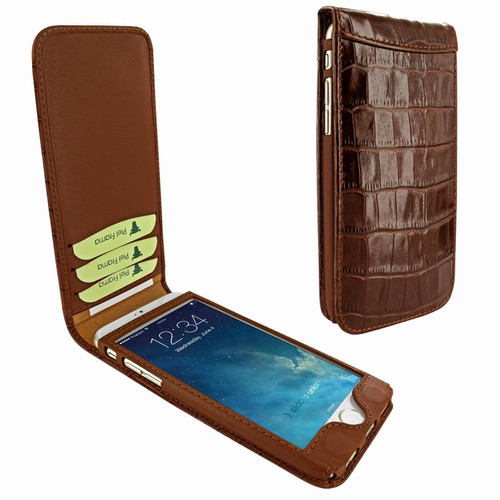 Piel Frama 766 Brown Crocodile Classic Magnetic Leather Case for Apple iPhone 7 Plus / 8 Plus