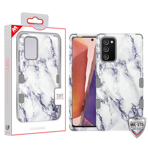 MyBat TUFF Hybrid Protector Cover [Military-Grade Certified] for Samsung Galaxy Note 20 - White Marbling / Iron Gray