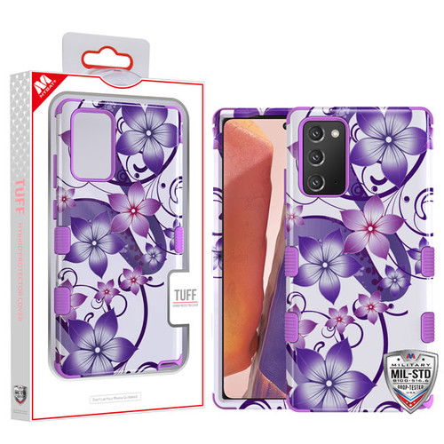 MyBat TUFF Hybrid Protector Cover [Military-Grade Certified] for Samsung Galaxy Note 20 - Purple Hibiscus Flower Romance / Electric Purple