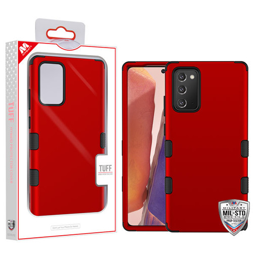 MyBat TUFF Hybrid Protector Cover [Military-Grade Certified] for Samsung Galaxy Note 20 - Titanium Red / Black